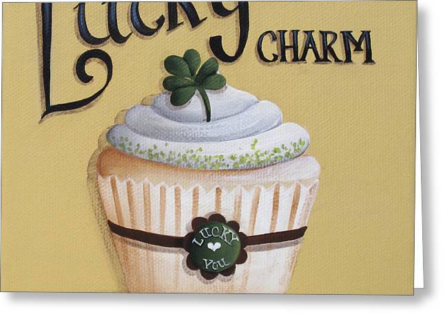 Catherine Holman Greeting Cards - Lucky Charm Cupcake Greeting Card by Catherine Holman