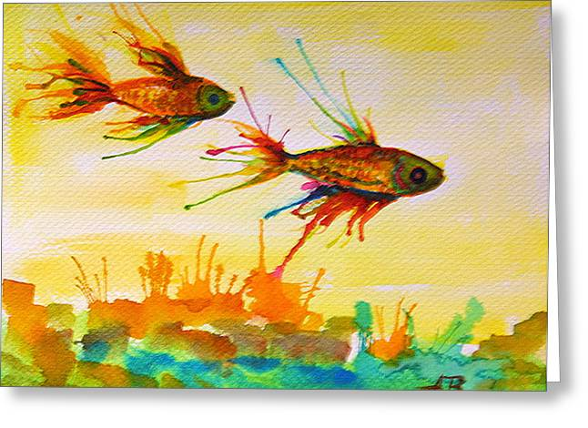 Betta Paintings Greeting Cards - Lucky Charms Greeting Card by Angelique Buman