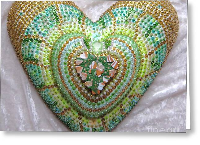 Spiritual Art Reliefs Greeting Cards - Lucky clover hearts Greeting Card by Heidi Sieber