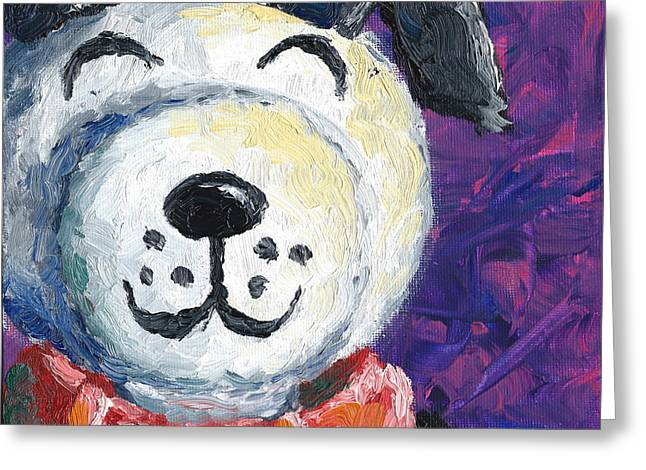 Lucky Dogs Paintings Greeting Cards - Lucky Greeting Card by Connie Mobley Johns