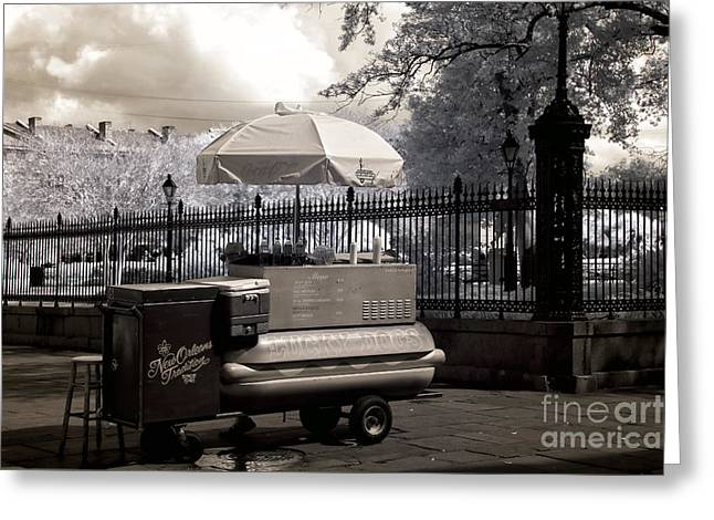 Hot Dog Stand Greeting Cards - Lucky Day for Lucky Dogs infrared Greeting Card by John Rizzuto