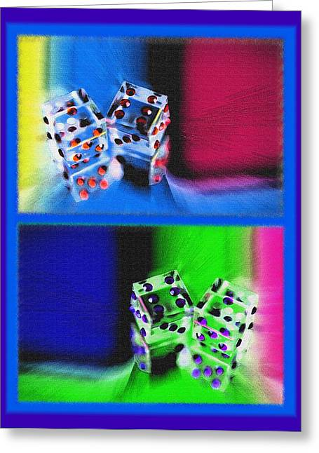 Lucky Dice Diptych - Mirrored Images Greeting Card by Steve Ohlsen