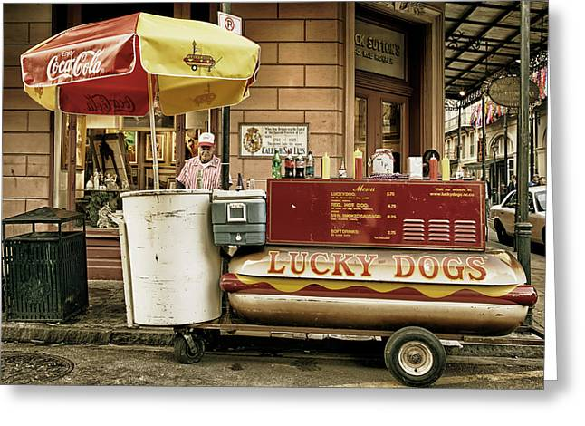 Lucky Dogs Greeting Cards - Lucky Dogs of New Orleans Greeting Card by Mountain Dreams