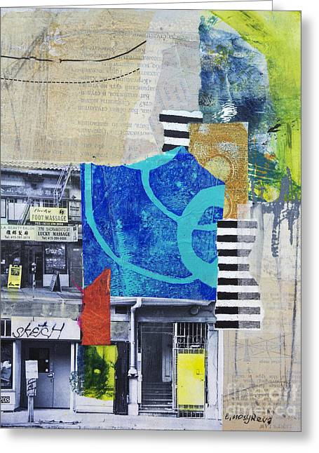 Acrylic Mixed Media Abstract Collage Greeting Cards - Lucky Greeting Card by Elena Nosyreva