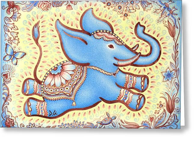 Inner Self Paintings Greeting Cards - Lucky Elephant Blue Greeting Card by Judith Grzimek