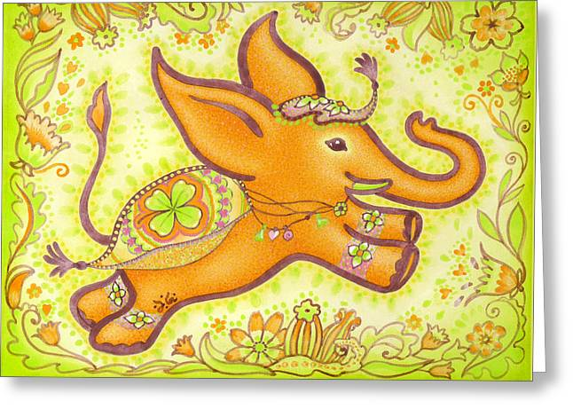 Inner Self Paintings Greeting Cards - Lucky Elephant Orange Greeting Card by Judith Grzimek