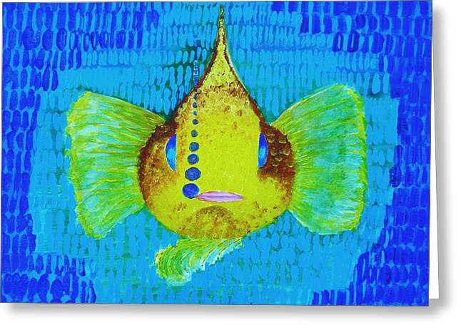 Decorative Fish Drawings Greeting Cards - Lucky fish Greeting Card by Vivian Kwee