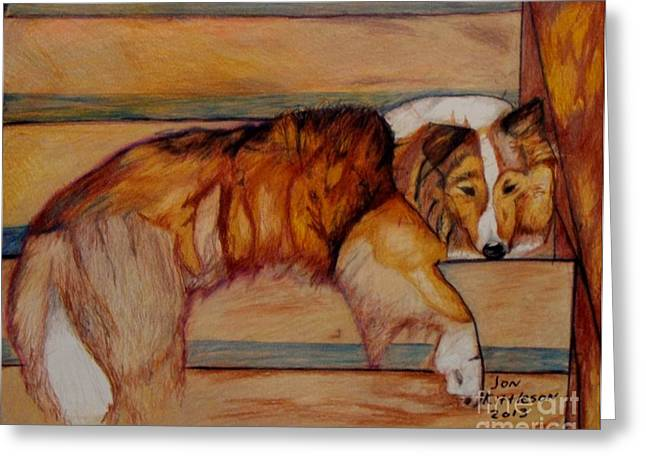 House Pet Drawings Greeting Cards - Lucky Greeting Card by Jon Kittleson