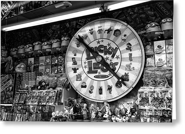 Seaside Heights Greeting Cards - Lucky Leos Magic Wheel mono Greeting Card by John Rizzuto