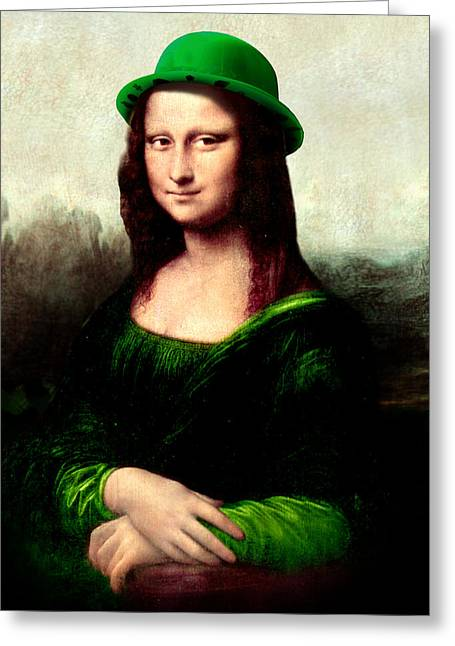 Green Hat Art Greeting Cards - Lucky Mona Lisa Greeting Card by Gravityx9  Designs