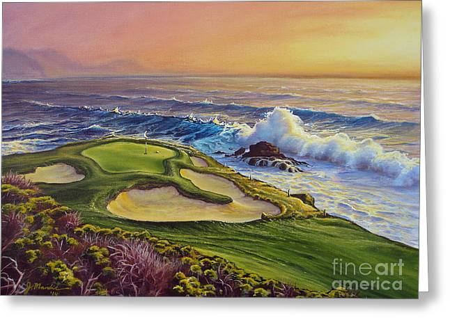 Golf Hole Greeting Cards - Lucky Number 7 Greeting Card by Joe Mandrick