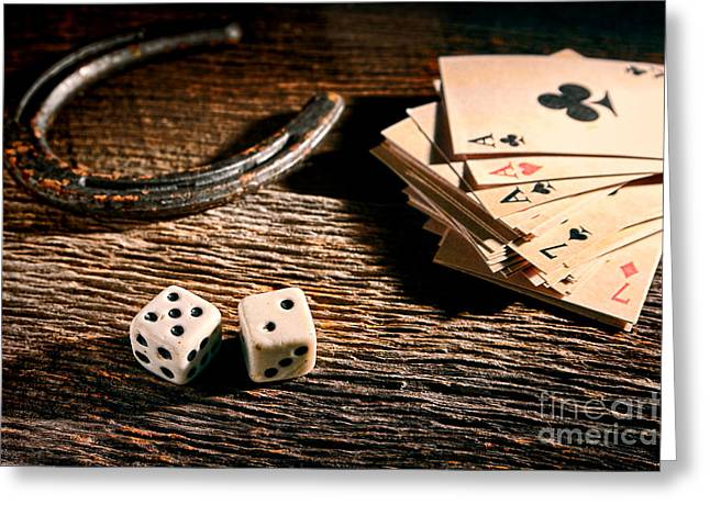Gambler Greeting Cards - Lucky Greeting Card by Olivier Le Queinec
