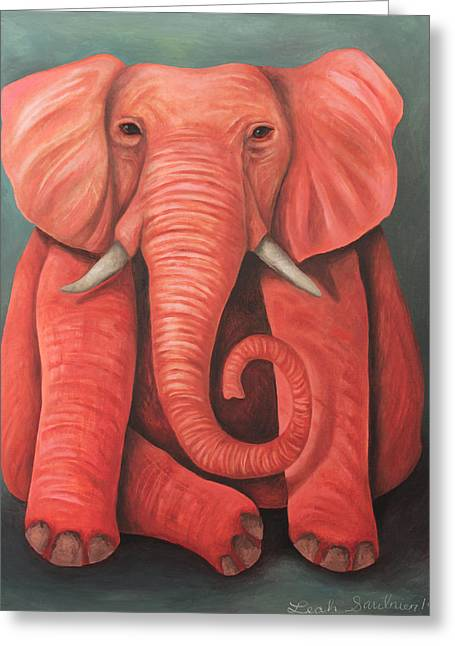 Elephant In The Room Greeting Cards - Lucky Pink Elephant Greeting Card by Leah Saulnier The Painting Maniac