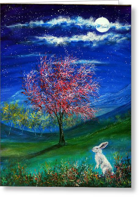 Kinkade Greeting Cards - Lucky Rabbit Greeting Card by Ann Marie Bone