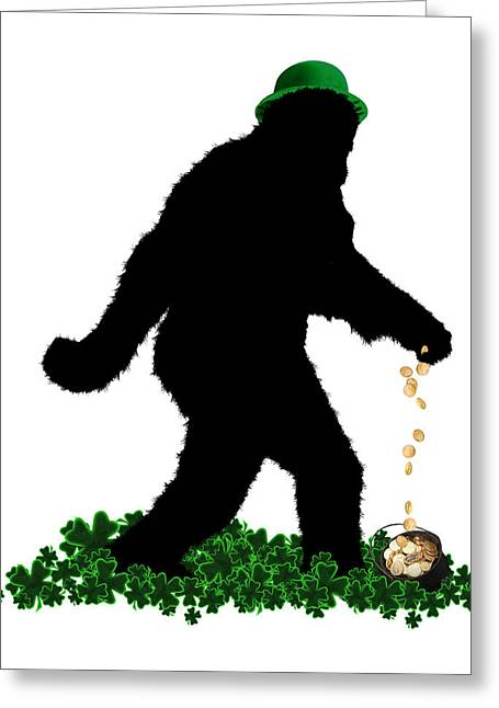 Urban Legend Greeting Cards - Lucky Sasquatch Greeting Card by Gravityx Designs