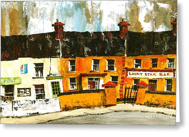Aran Islands Greeting Cards - Lucky Star Bar on Aran Galway Greeting Card by Val Byrne