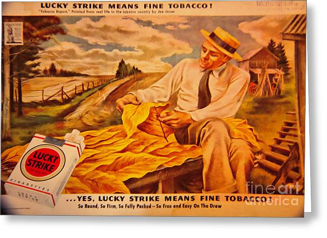 American Food Greeting Cards - Lucky Strike Greeting Card by Cheryl Young