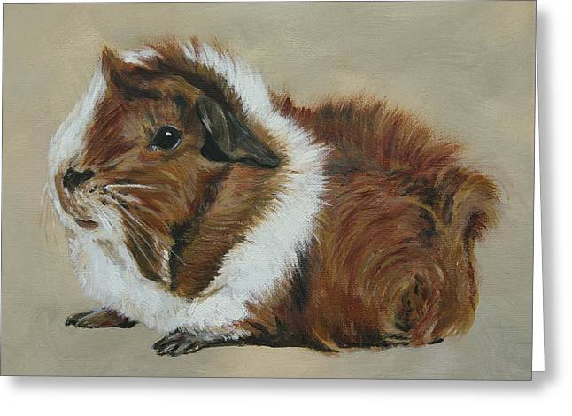 Lucky The Cutest Guinea Pig Greeting Card by Lyndsey Hatchwell