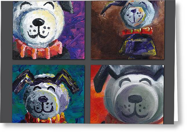 Lucky Dogs Paintings Greeting Cards - Lucky the Dog Greeting Card by Connie Mobley Johns