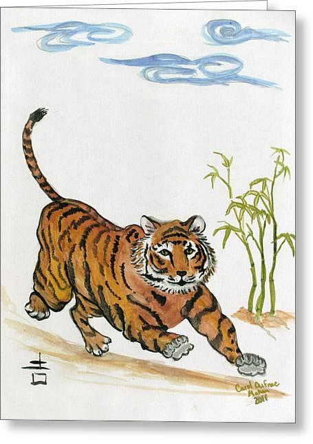 Lucky Tiger Greeting Card by Carol Oufnac Mahan