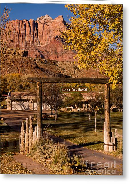 Geobob Greeting Cards - Lucky Two Ranch Rockville Utah Greeting Card by Robert Ford