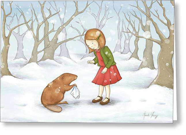 The Lion Witch Wardrobe Greeting Cards - Lucy Greeting Card by Amanda Francey