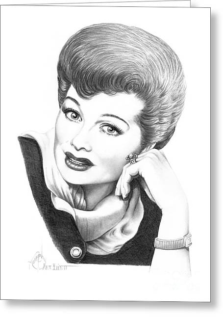 I Love Lucy Greeting Cards - Lucy Ball Arnez Greeting Card by Murphy Elliott