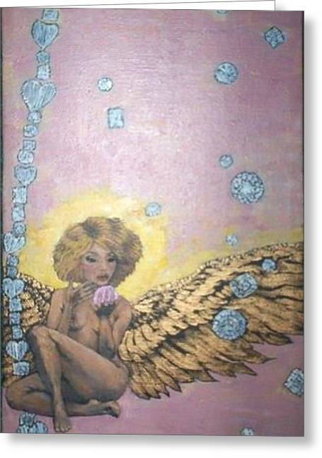 Sweet Success Greeting Cards - LUCY IN PINK SKY with DIAMONDS Greeting Card by Ana DelMar Belacqua