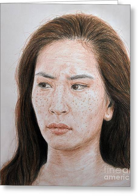 Movie Art Greeting Cards - Lucy Liu the Stare Greeting Card by Jim Fitzpatrick
