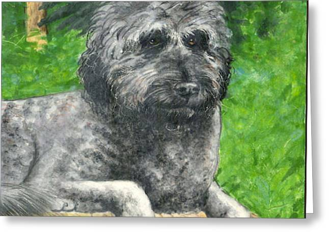 Ceramic Ceramics Greeting Cards - Lucy the Goldendoodle Greeting Card by Dy Witt