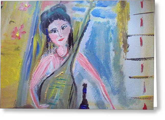 Lute Paintings Greeting Cards - Lucy warm lute Greeting Card by Judith Desrosiers