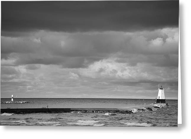 Guide Greeting Cards - Ludington Black and White Greeting Card by Sebastian Musial