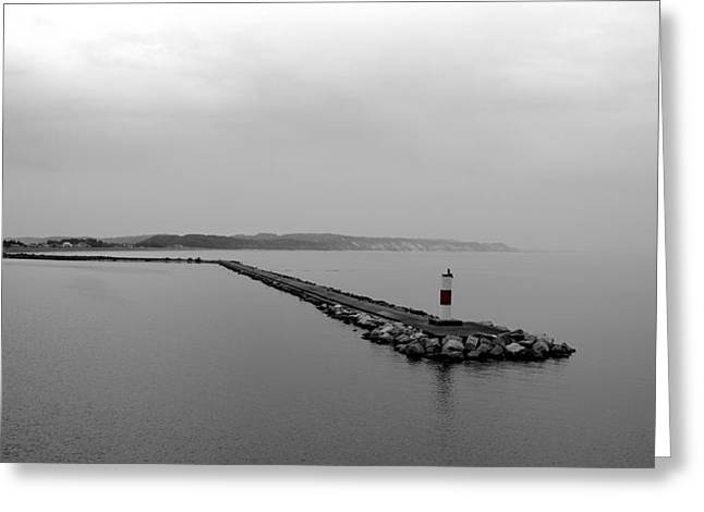 Foggy Beach Greeting Cards - Ludington Breakwater Greeting Card by Michelle Calkins