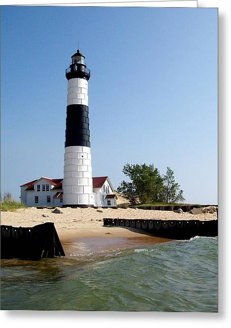 Ludington State Park Greeting Cards - Ludington Michigans Big Sable Lighthouse Greeting Card by Michelle Calkins
