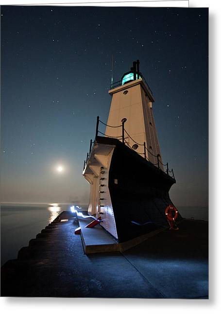 Harbour Wall Greeting Cards - Ludington North Breakwater Lighthouse Greeting Card by Adam Romanowicz