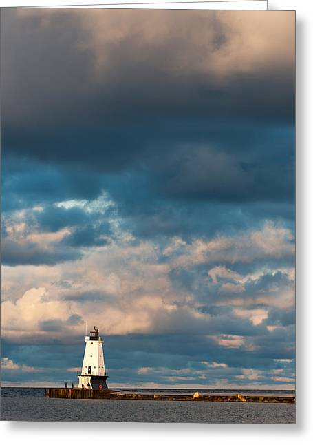 Pier Greeting Cards - Ludington North Breakwater Lighthouse at Sunrise Greeting Card by Sebastian Musial