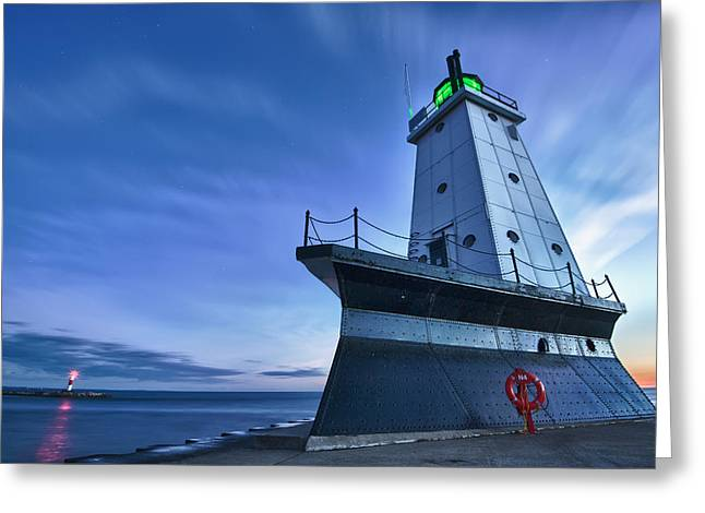 Nautical Greeting Cards - Ludington North Breakwater Lighthouse Greeting Card by Sebastian Musial