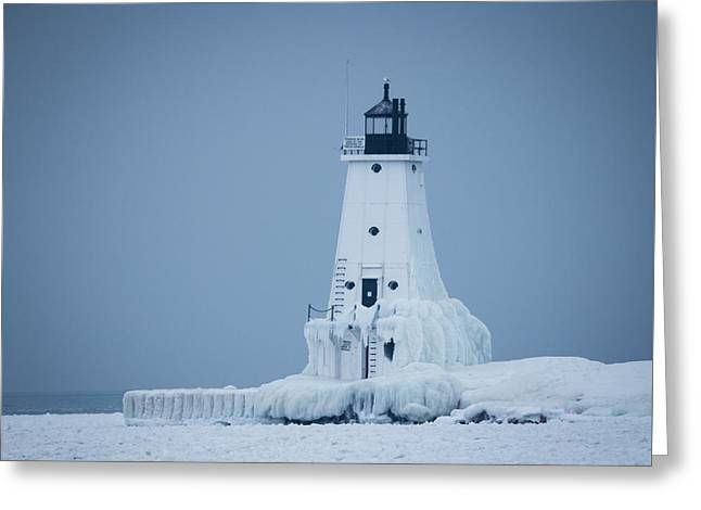 Snow-covered Landscape Greeting Cards - Ludington North Pier Lighthouse in Winter Greeting Card by Kimberly Kotzian
