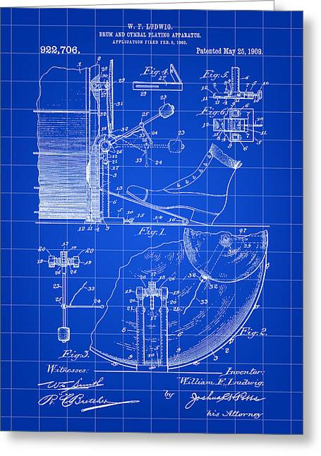 Ludwig Drum Sets Greeting Cards - Ludwig Drum and Cymbal Foot Pedal Patent 1909 - Blue Greeting Card by Stephen Younts