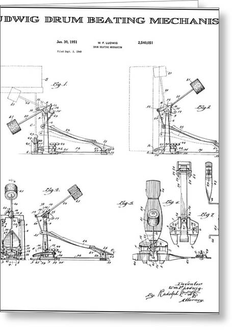 Ludwig Drum Sets Greeting Cards - Ludwig Drum Pedal 2 Patent Art 1951 Greeting Card by Daniel Hagerman