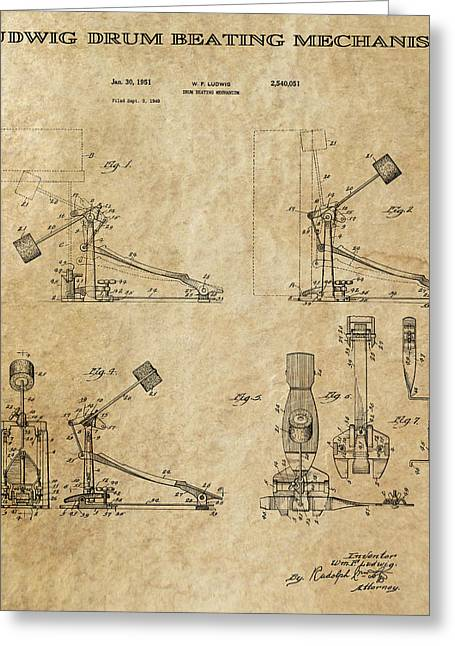 Historical Blueprint Greeting Cards - Ludwig Drum Pedal 3 Patent Art 1951 Greeting Card by Daniel Hagerman