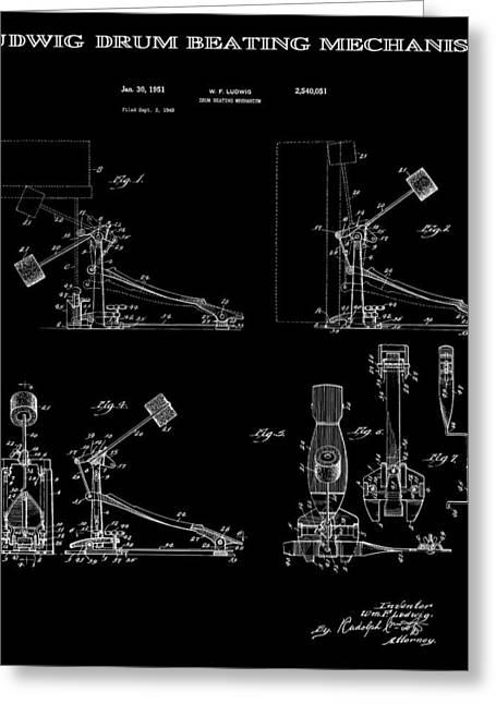Ludwig Drum Sets Greeting Cards - Ludwig Drum Pedal 4 Patent Art 1951 Greeting Card by Daniel Hagerman