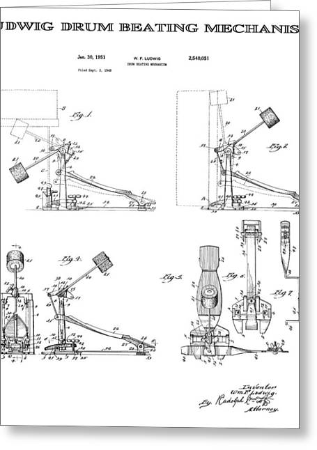 Ludwig Drum Sets Greeting Cards - Ludwig Drum Pedal Patent Art 1951 Greeting Card by Daniel Hagerman
