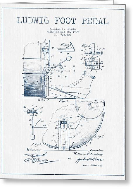 Drum Art Greeting Cards - Ludwig Foot Pedal Patent Drawing from 1909 - Blue Ink Greeting Card by Aged Pixel