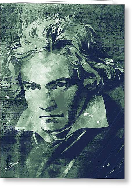 Famous Portraits Greeting Cards - Ludwig Greeting Card by Gary Bodnar