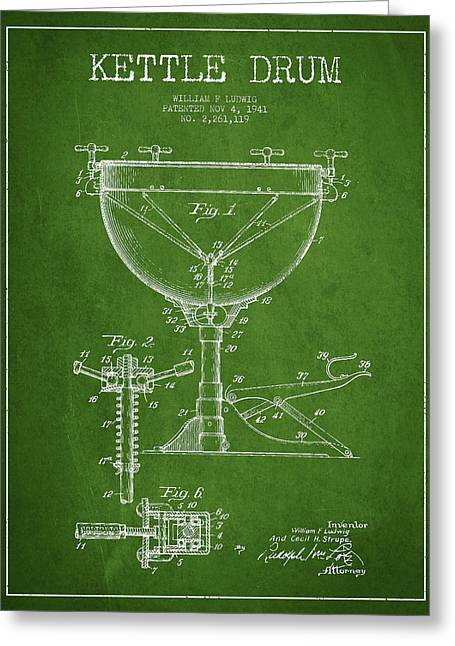 Kettle Greeting Cards - Ludwig Kettle Drum Drum Patent Drawing from 1941 - Green Greeting Card by Aged Pixel