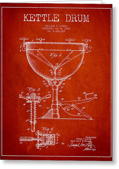 Kettle Greeting Cards - Ludwig Kettle Drum Drum Patent Drawing from 1941 - Red Greeting Card by Aged Pixel