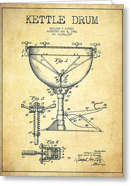 Drummers Digital Art Greeting Cards - Ludwig Kettle Drum Drum Patent Drawing from 1941 - Vintage Greeting Card by Aged Pixel