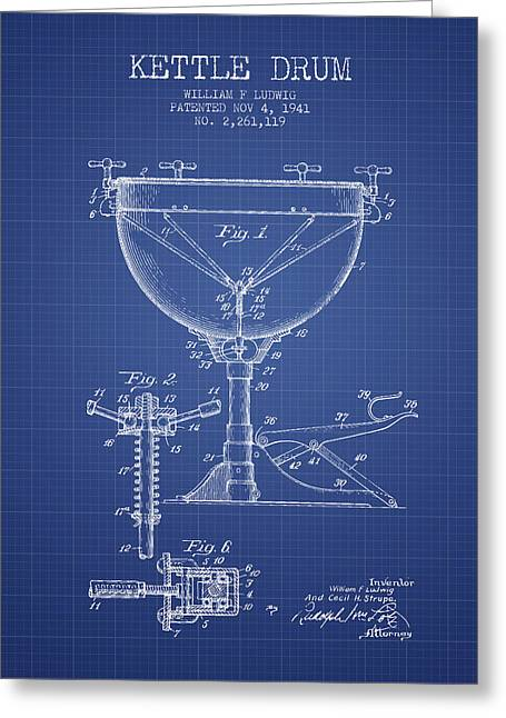 Kettle Greeting Cards - Ludwig Kettle Drum Drum Patent from 1941 - Blueprint Greeting Card by Aged Pixel