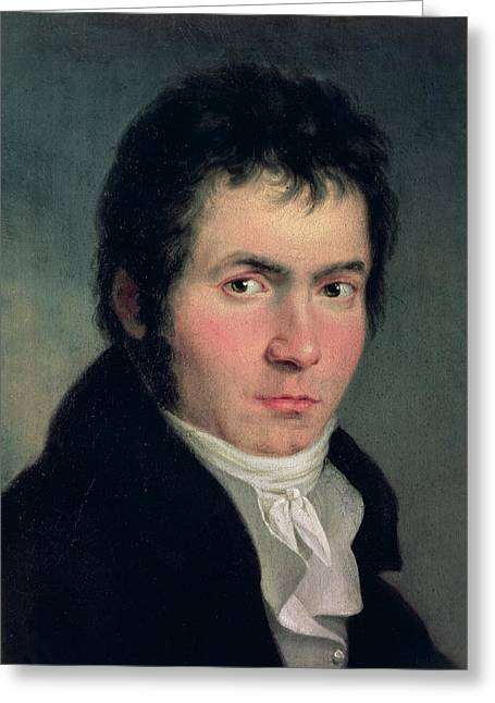 Organist Greeting Cards - Ludwig Van Beethoven 1770-1827, 1804 Detail Of 13986 Greeting Card by Willibrord Joseph Mahler or Maehler
